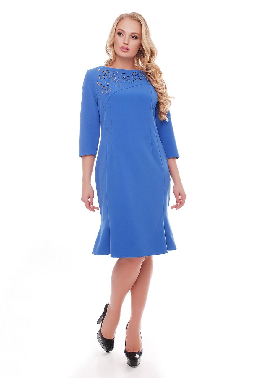 Оригинальное платье с перфорацией Анюта васильковая