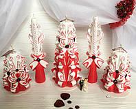 Свечи на свадьбу, резные ручной работы красно-белого цвета