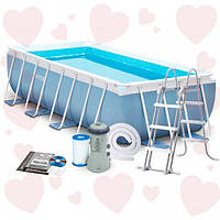 АКЦИЯ! Intex 28318 (488 х 244 х 107 см) бассейн прямоугольный каркасный + насос + лестница+подстилка+чехол