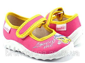 Яскраві дитячі тапочки WALDI для дівчинки( р21)