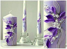 """Свадебные свечи """" Семейный очаг"""" в фиолетовом цвете"""