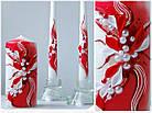 """Свадебные свечи """"Семейный очаг"""" в красном цвете, фото 2"""