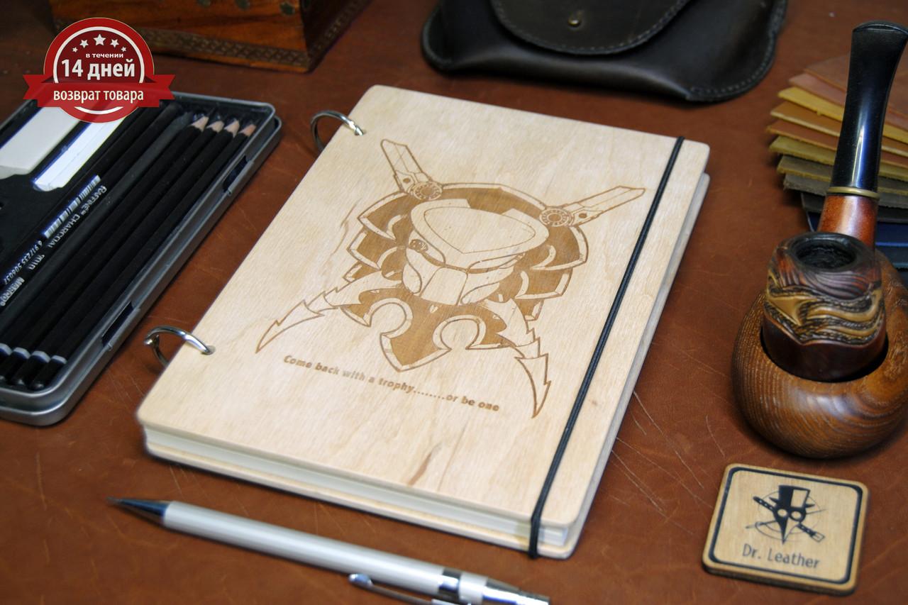 Скетчбук A5. Блокнот с деревянной обложкой Хищник