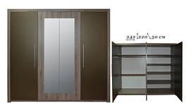 Шафа 4D (з 2-ма дзеркалами) дуб Арканзас темний/бронза Джульєтта ВМВ Холдінг