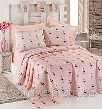 Покрывало 160*235 летнее пике Eponj Home Flamingo пудра вафельное
