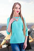 Женская блуза с имитацией баски 44 размер  к-5