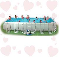 АКЦИЯ! Intex 28362 (732 х 366 х 132 см) бассейн прямоугольный каркасный + фильтр-насос грубой очистки + лестни