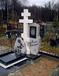Православный  крест из белого мрамора № 3