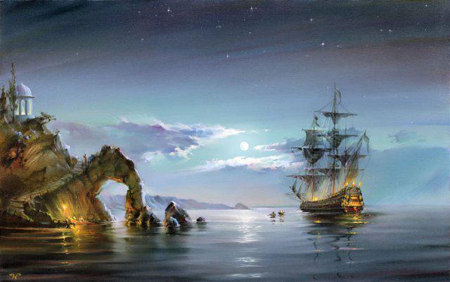 Картина раскраска по номерам на холсте 40*50см Babylon MS416 Лунная ночь (корабль)