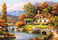 Картина раскраска по номерам на холсте 40*50см Бебилон Турбо MS612 Уютный дом у реки худ. Сунг Ким