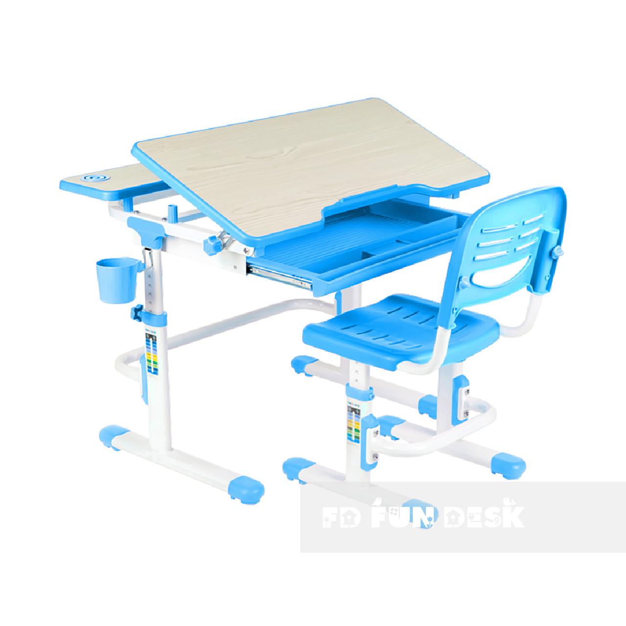 Зростаюча парта + стілець для школяра Fundesk Lavoro Blue + настільна світлодіодна лампа FunDesk L1