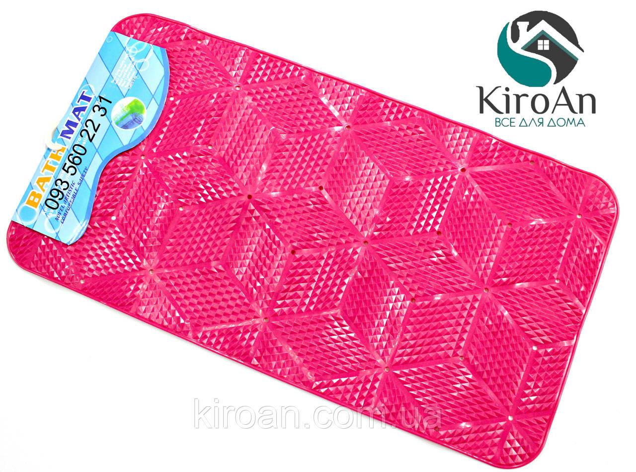 Противоскользящий коврик в ванную на присосках (цвет Розовый) 7313