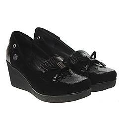 Туфли женские Mammamia (стильное сочетание фактур, модные, на удобной танкетке)
