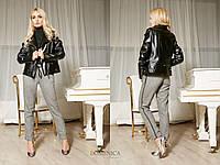 Кожаная женская черная куртка-косуха tez310170