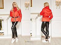 Демисезонная женская куртка с поясом в разных цветах tez310171