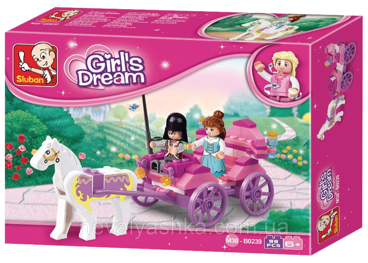 Конструктор SLUBAN Розовая мечта Карета принцессы, 99 дет., M38-B0239, 004468