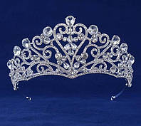 223 Нежные высокие короны усыпанные камнями. Высокие свадебные короны оптом.