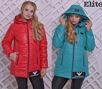 Женская демисезонная куртка с капюшоном в батальных размерах tez615536