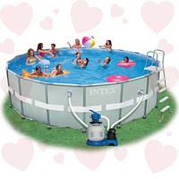 Intex 28332(549 х 132 см) бассейн круглый каркасный + фильтр-насос грубой очистки+лестница+подстилка+че