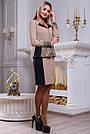 Женский костюм с вышивкой, юбка и жакет, кофейный/чёрный, фото 2
