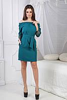 Платье Романа с открытыми плечами бирюзовое, фото 1