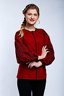 Женская блуза вышиванка бордового цвета, фото 1