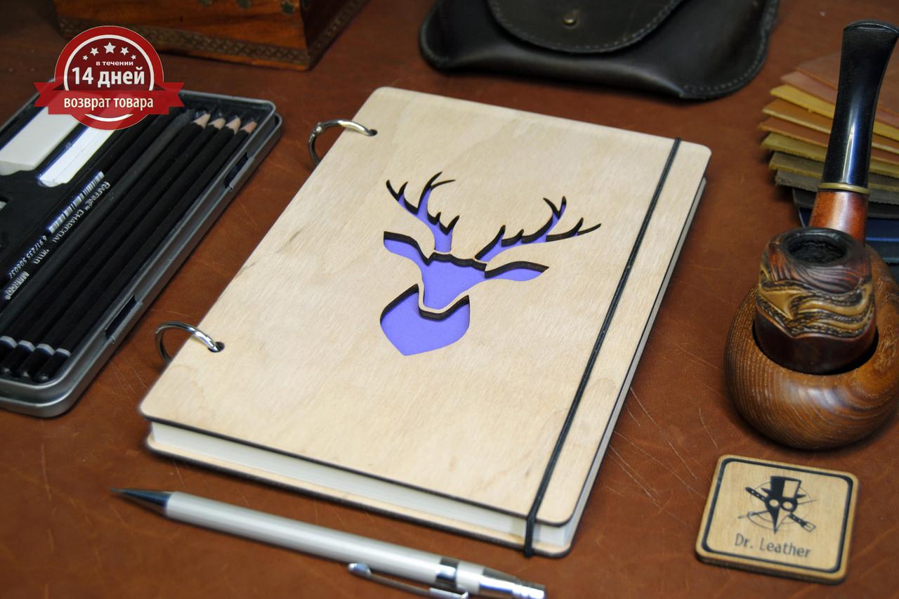 Скетчбук A5. Блокнот с деревянной обложкой Олень