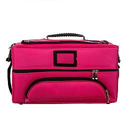 Сумка - кейс для визажистов, косметолога и мастеров маникюра, розовый тканевый