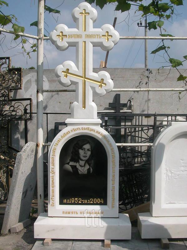 Памятник с мраморным крестом №6