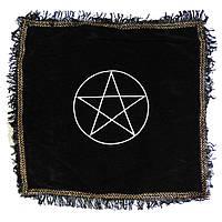 Скатерть черная Пентаграмма с бахромой, фото 1