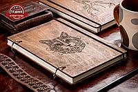 Скетчбук A5 Кот. Блокнот с деревянной обложкой