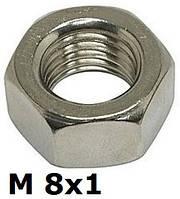 DIN 934 F (ГОСТ 5927-70; ISO 8673) - нержавеющая гайка шестигранная с мелким шагом резьбы М8х1