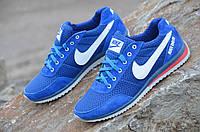 Кроссовки мужские летние Nike реплика  сетка, кожа, замша синие 2017 (Код: Ш608)