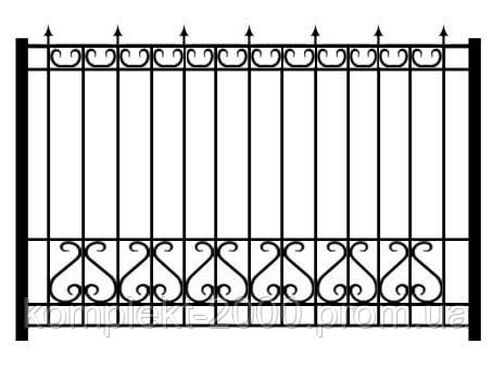 Забор из металла с кованными элементами | Заборы из металла купить | Цена на забор из металла от производителя