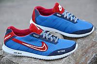 Кроссовки мужские летние Nike реплика  сетка, кожа, замша голубые с синим (Код: Ш609) Только 43р!