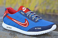 Кроссовки мужские летние  сетка, кожа, замша голубые с синим (Код: Ш609а) Только 43р!