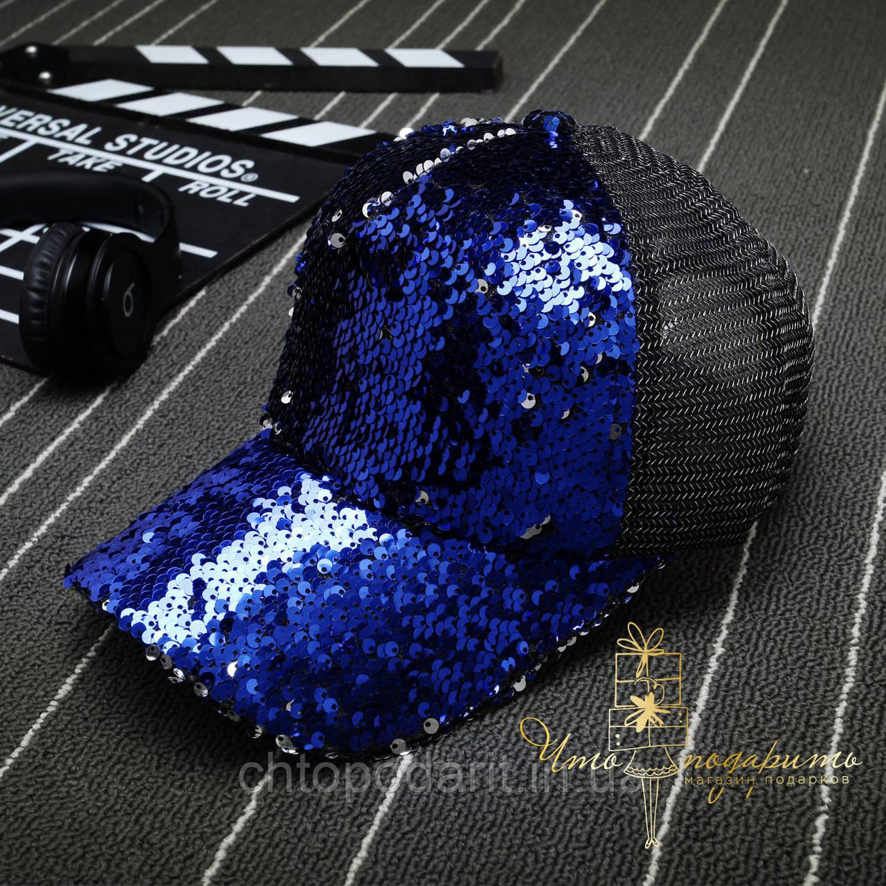 Бейсболка с двухсторонними пайетками - синяя Код 10-0450