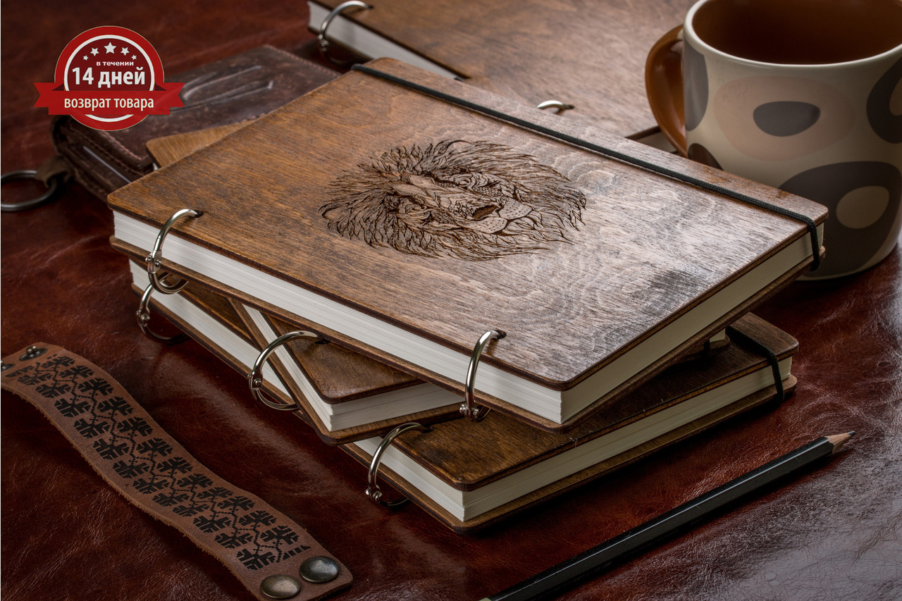 Скетчбук A5. Блокнот с деревянной обложкой.
