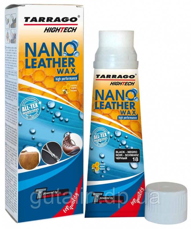 Крем тюбик с губкой NANO Leather WAX 75 мл цвет черный (018)