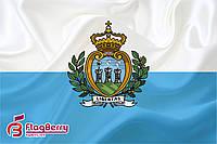 Флажок Сан - Марино 13,5*25 см., плотный атлас