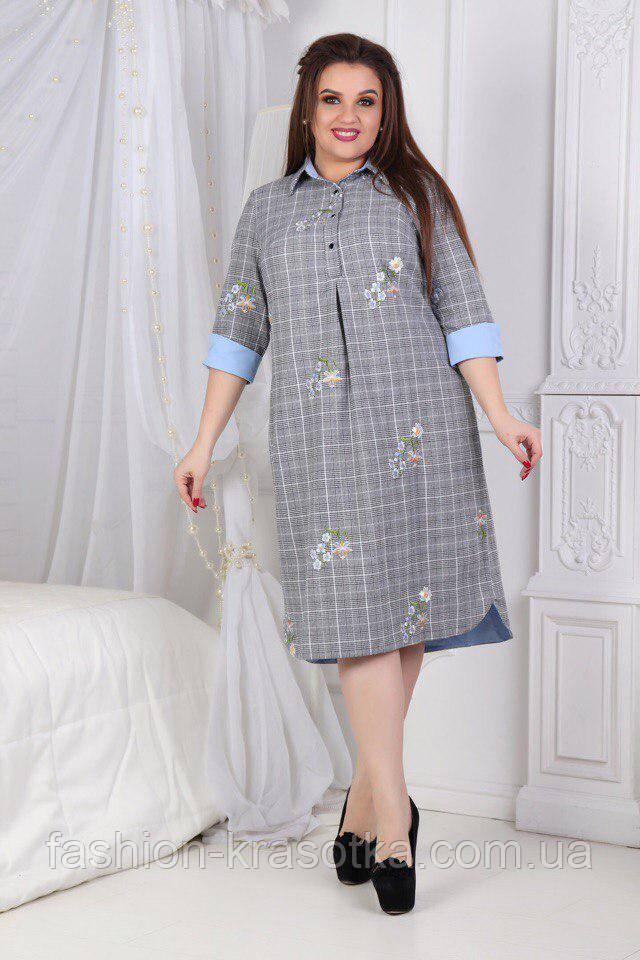 Нарядное женское платье- рубашка ,размеры 50-56