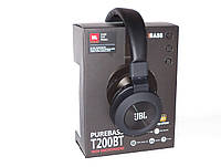 Bluetooth наушники Wireless Headphones JBL Purebass T200BT с FM MP3 microSD/TF, black