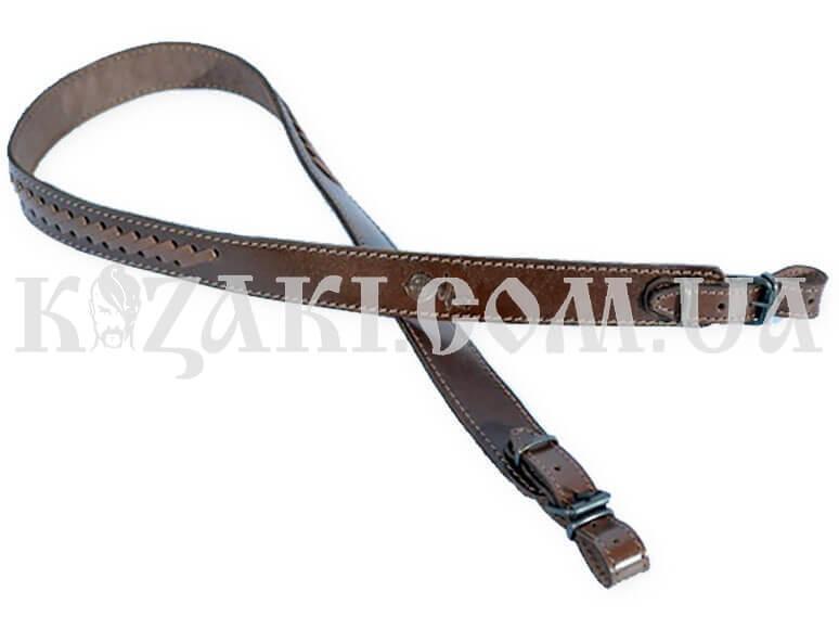 Ремень ружейный Плетеный прямой коричневый( кожа)