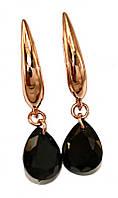 Серьги фирмы XР, цвет советского золота. Камень: чёрный циркон. Высота серьги 3,2 см. ширина 8 мм.
