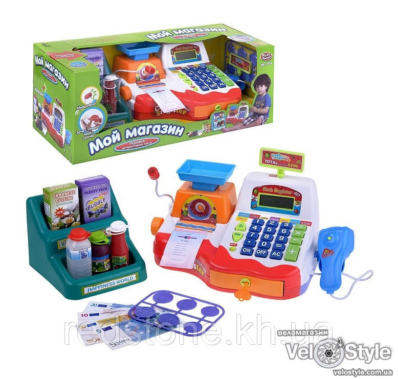 """Интерактивная касса с микрофоном """"Мой Магазин"""" 7256 (чеки,скaнep,микрофон,весы,калькулятор (подсветка,звук)"""