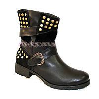 Кожаные женские демисезонные ботинки свободного одевания, на невысоком каблуке