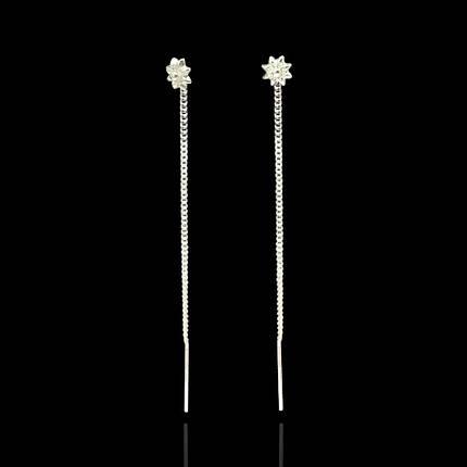 Серебряные серьги-протяжки Звездочки, фото 2