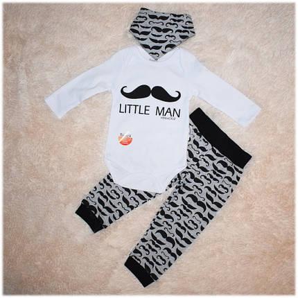 Комплект хлопковый для мальчика (боди, штанишки, слюнявчик) ТМ Miniworld размер 68, 74, фото 2