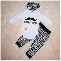 Комплект хлопковый для мальчика (боди, штанишки, слюнявчик) ТМ Miniworld размер 68, 74