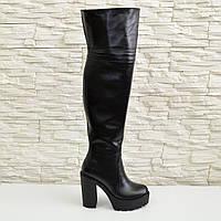 Ботфорты зимние кожаные на высоком устойчивом каблуке. 37 размер.